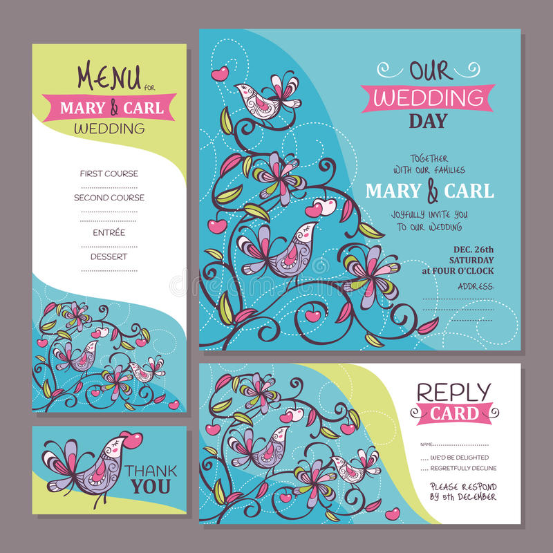 Set of cute wedding cards vector illustration