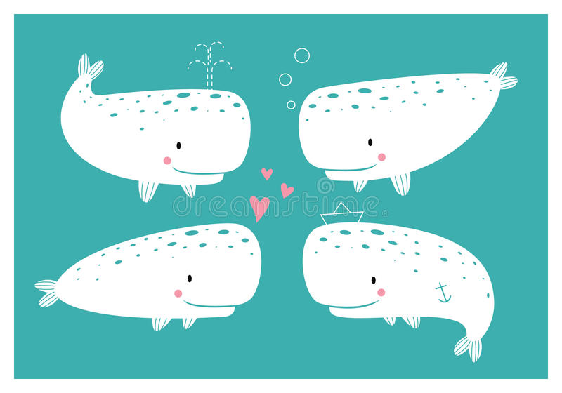 Set of cute whales royalty free stock photos