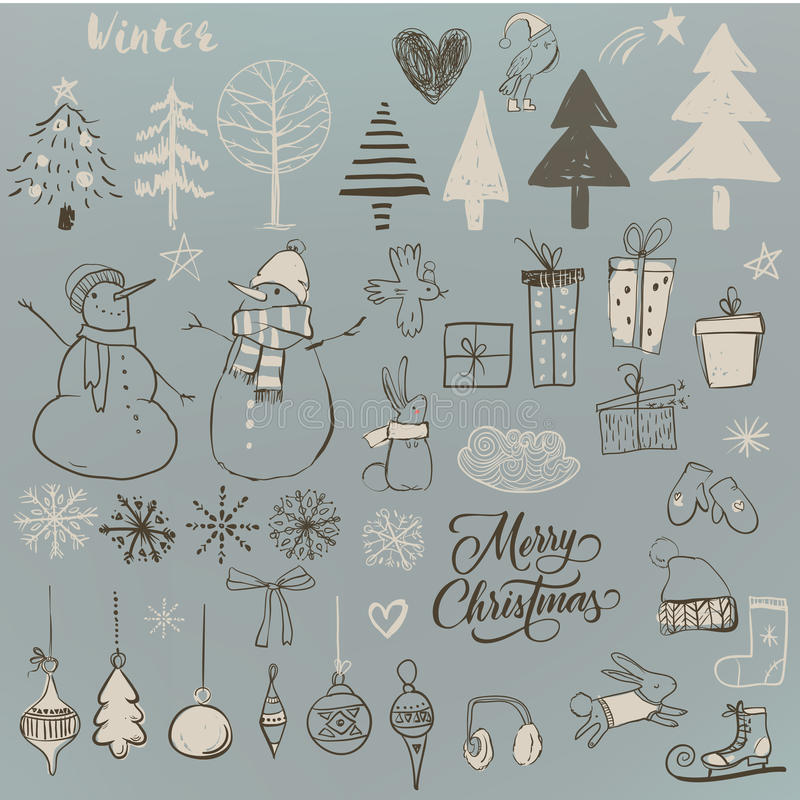 Set with cute winter elements vector illustration