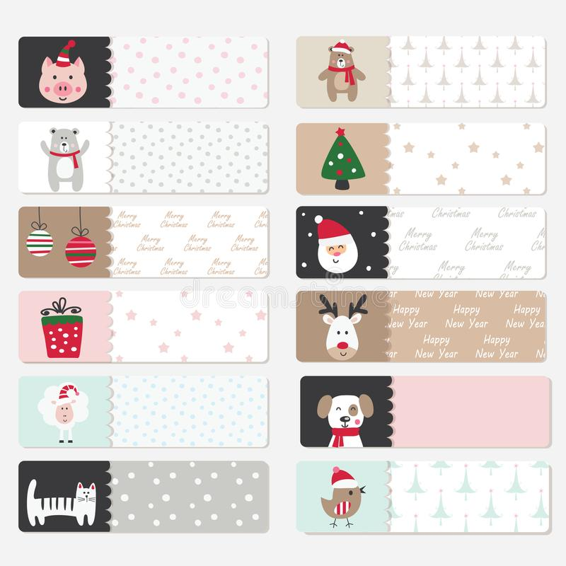 Set of cute winter stickers vector illustration