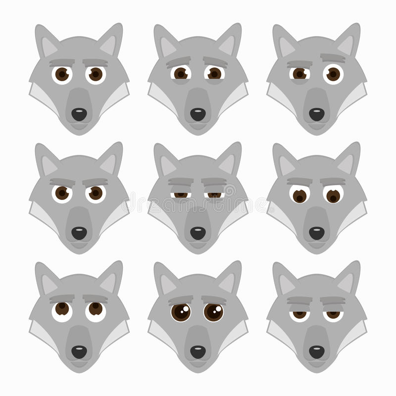 Set of cute wolf emoticons. royalty free illustration