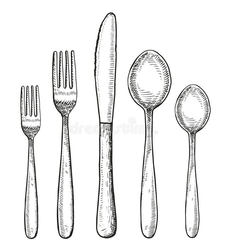 Line Drawing Knife And Fork : Set of cutlery vector spoon fork and knife hand drawing