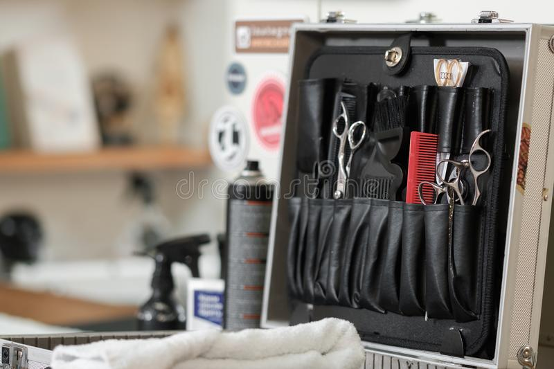 A set of cutting tools for cutting barber beard salon. professional barber tools. stock image