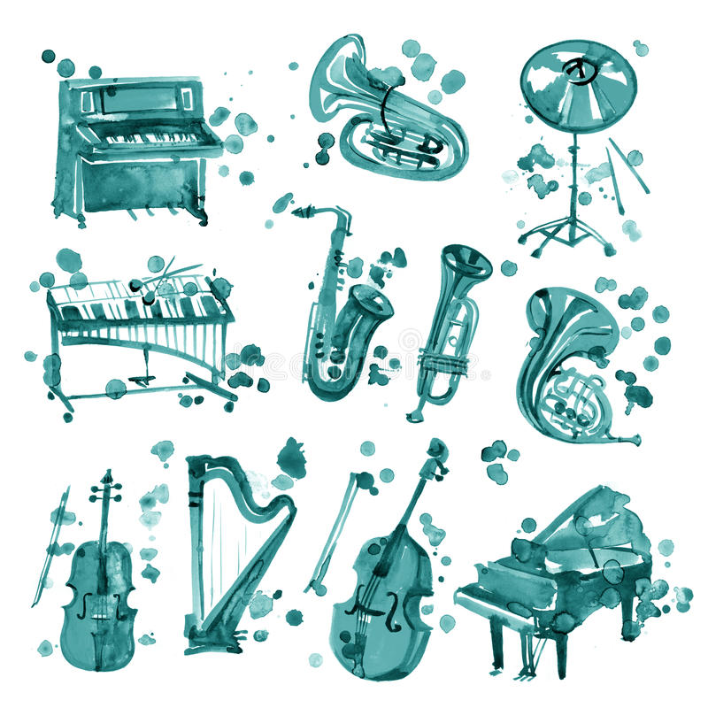 Set of cyan watercolor musical instruments. royalty free illustration