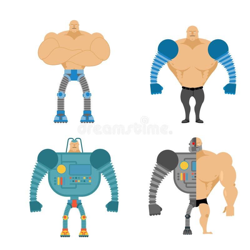Set cyborgi Ludzie z machinalnymi kończynami Mechaniczny Bionic bo ilustracja wektor