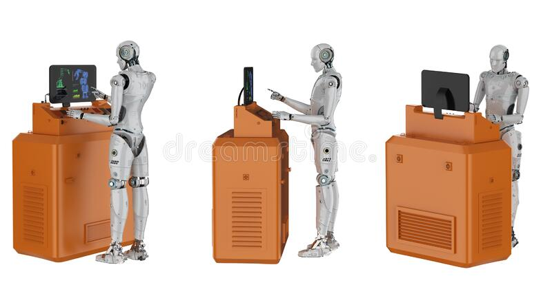 Set of cyborgs control isolated. 3d rendering set of cyborgs work with control panel isolated on white stock illustration