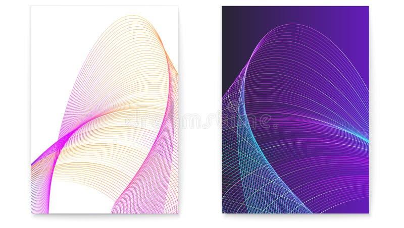 Set cyfrowi plakaty z kręconymi barwionymi liniami Dynamiczne spływanie fale Grafiki pojęcie przepływ, muzyka, technologia ilustracja wektor