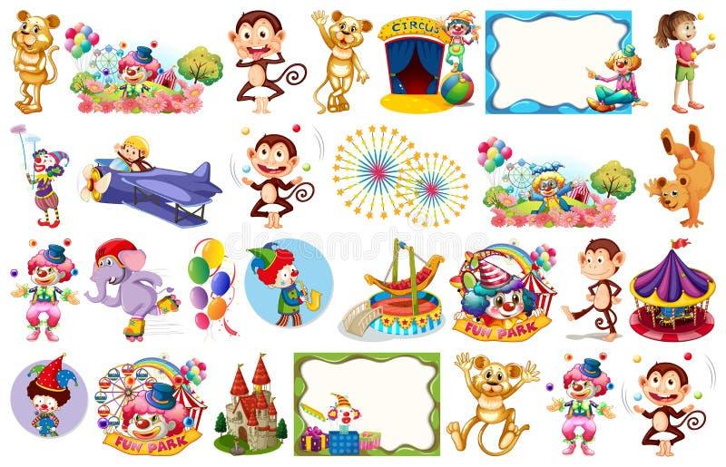 Set cyrki temed przedmioty i elementy ilustracja wektor
