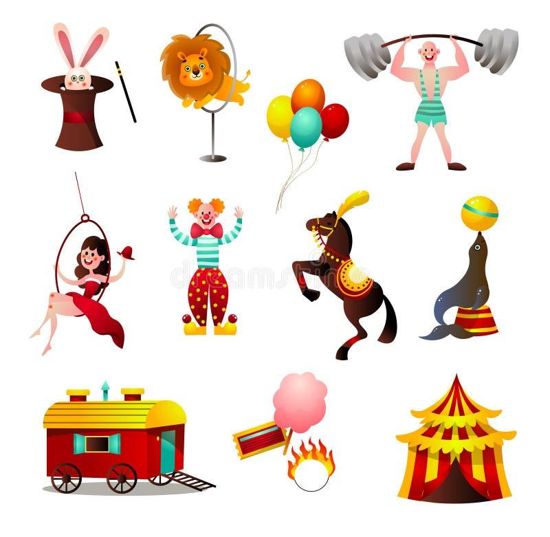 Set cyrkowi kolorowi zwierz?ta i osoba przy wakacyjn? aren? ilustracji