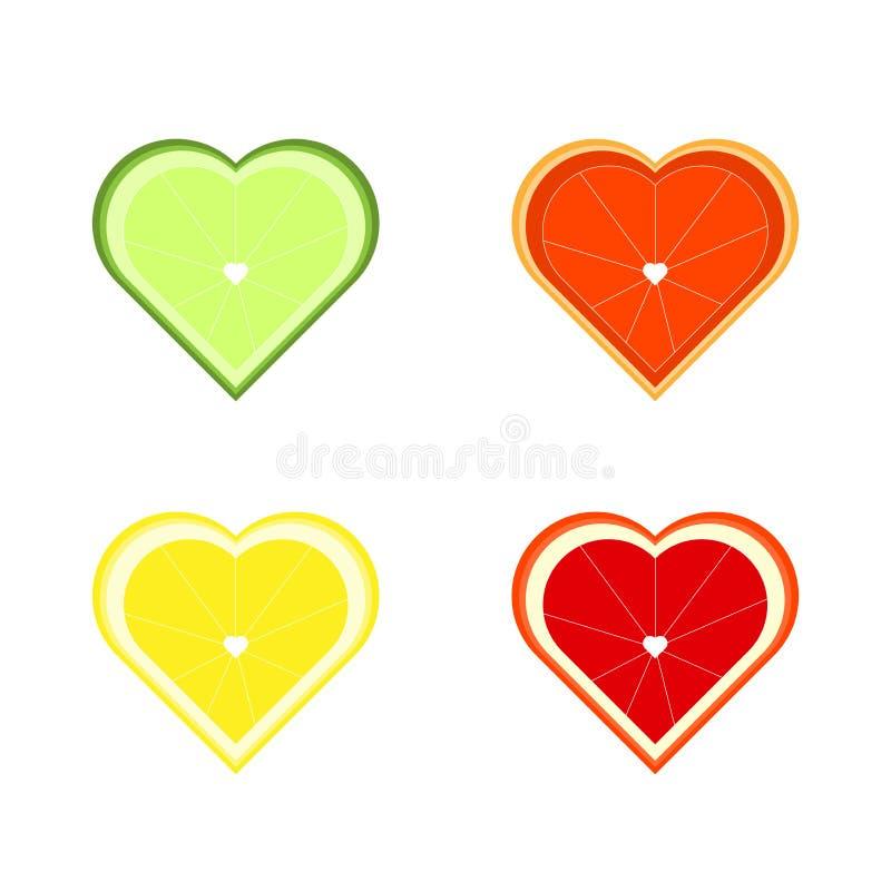 Set cytrus owoc w formie serc Wapno, cytryna i pomarańcze dla, grapefruitowy, lata i koktajli/lów Soczyste ikony w mieszkaniu royalty ilustracja