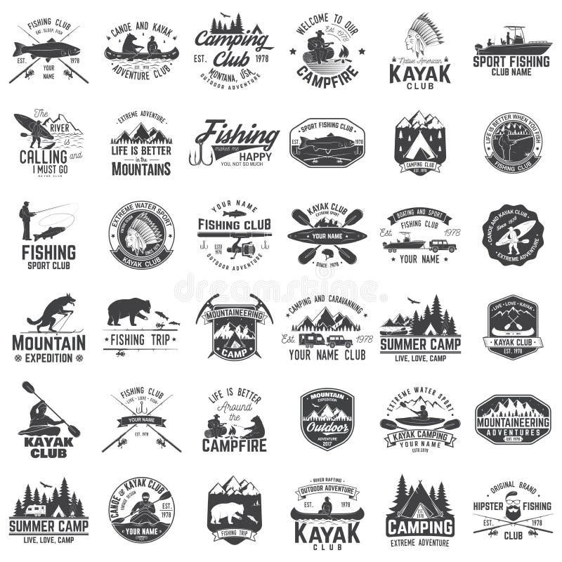Set czółna, kajaka, połowu i campingu świetlicowa odznaka, royalty ilustracja