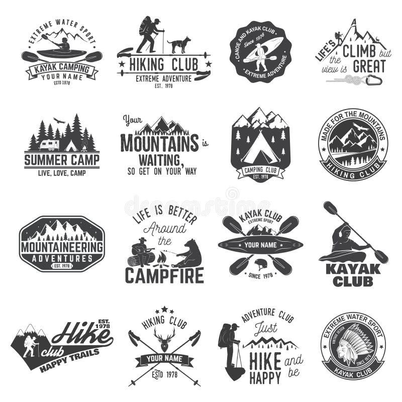 Set czółna, wycieczkować, kajaka i campingu świetlicowa odznaka, ilustracji