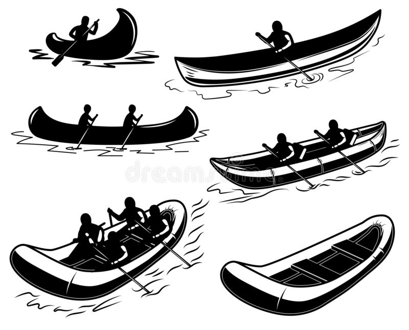 Set czółno, łódź, tratwy ilustracja Projektuje element dla plakata, emblemat, znak, plakat, t koszula royalty ilustracja
