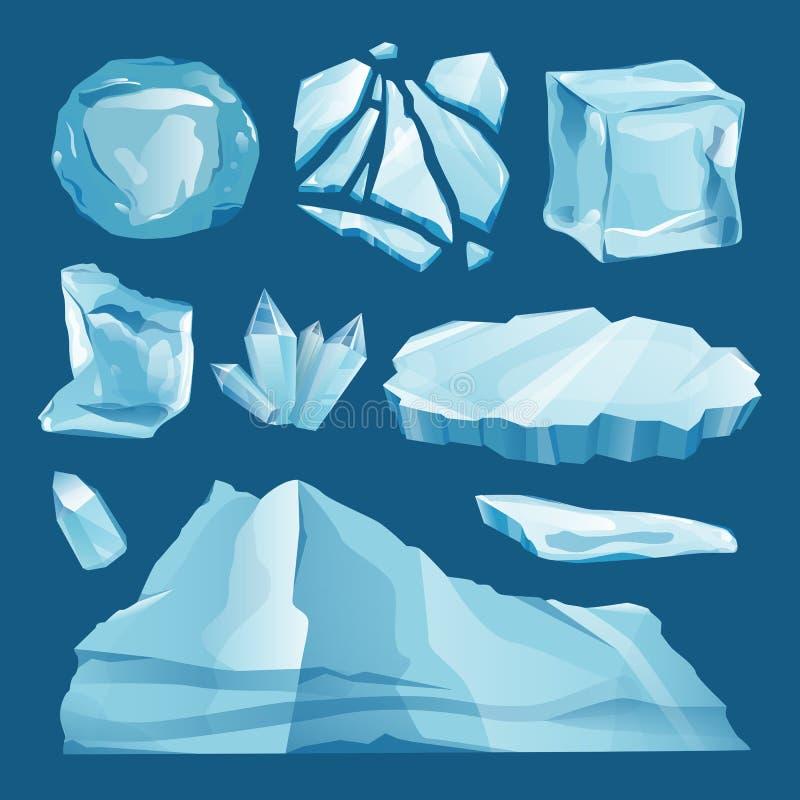 Set czapa lodowa sople i snowdrifts ilustracji