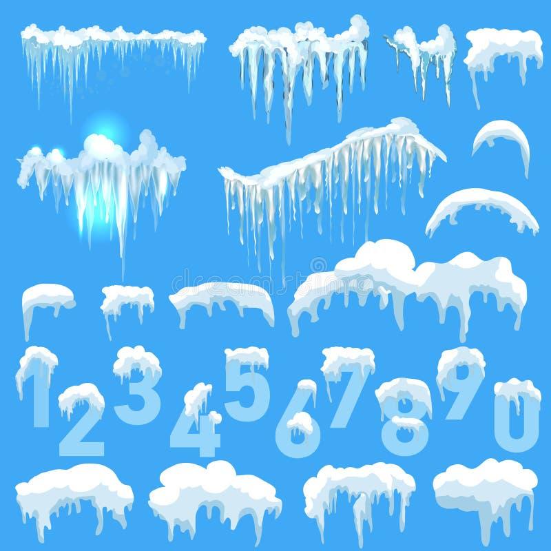 Set czapy lodowa Snowdrifts, sople, element zimy wystrój obraz royalty free