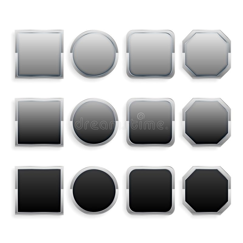 Set czarna i szara metal rama zapina ilustracji