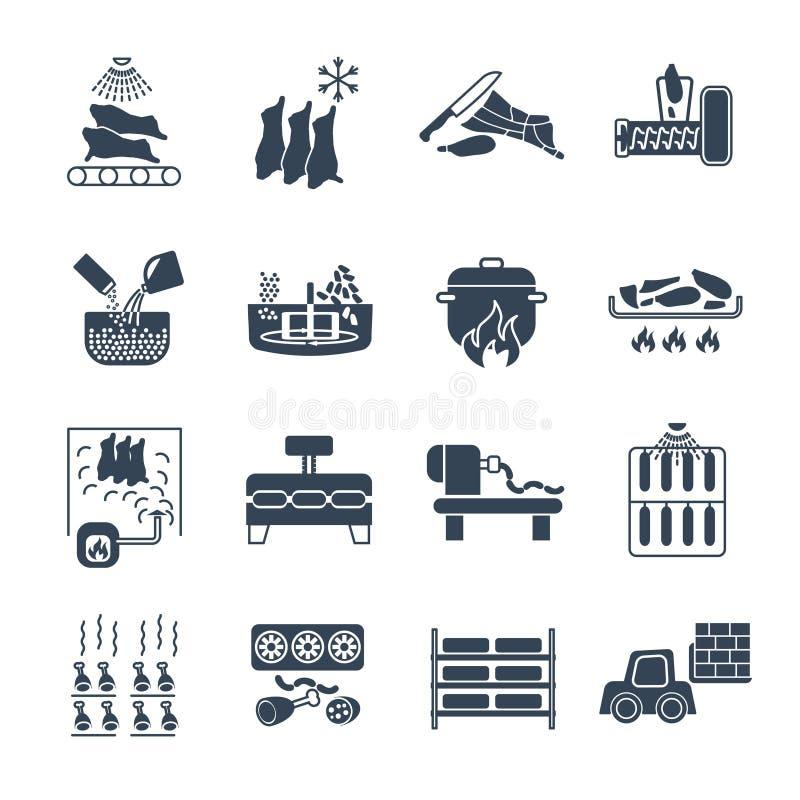 Set czarna ikony manufaktura mięsnych produktów produkcja ilustracji