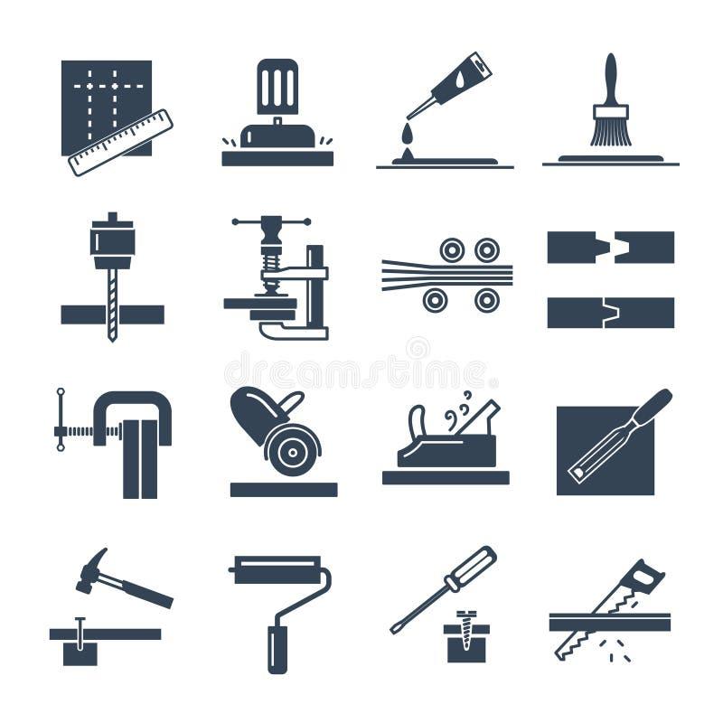 Set czarna ikony manufaktura produkty drewniana produkcja ilustracja wektor