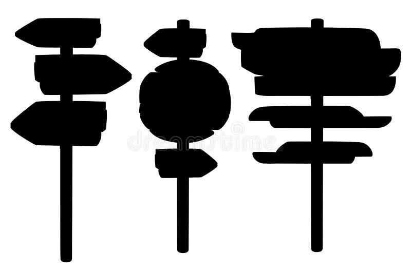 Set czarne drewniane deski ustawiający sylwetki plakiety drewniani strzałkowaci znaki wsiada inkasową ilustrację odizolowywającą  ilustracja wektor