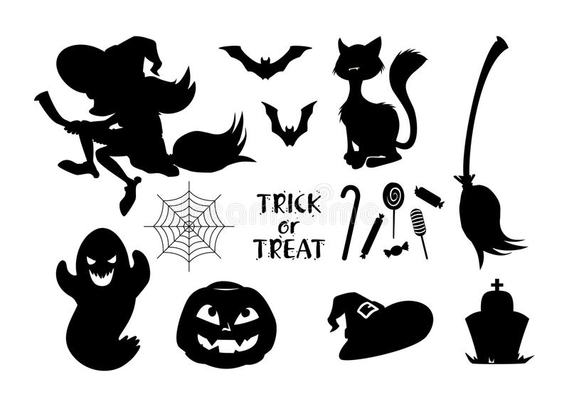 Set czarne Halloweenowe ikony również zwrócić corel ilustracji wektora royalty ilustracja