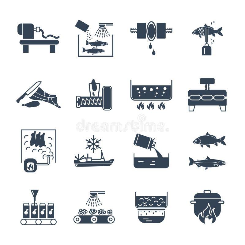 Set czarne ikony jedzenie, posiłku proces produkcji, ryba ilustracja wektor