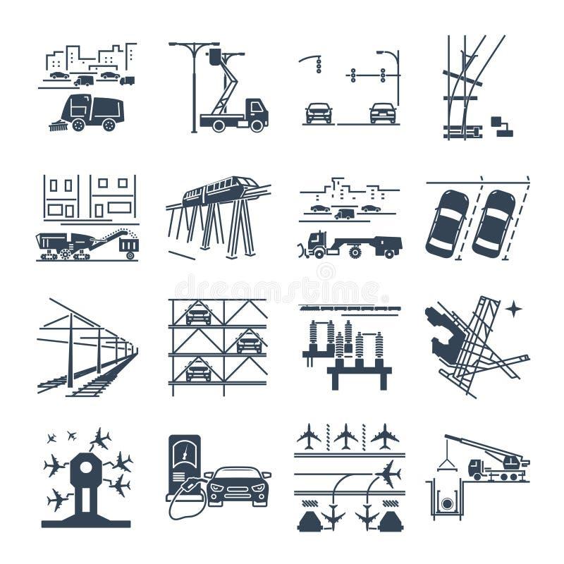 Set czarne ikony przewieziona infrastruktura, droga, powietrze ilustracji