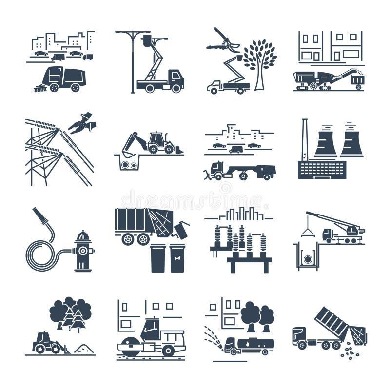 Set czarne ikony zakład użyteczności publicznej, budowa, instalacja ilustracji