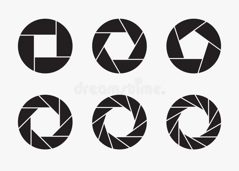 Set czarne kamera obiektywu apertury ikony ilustracja wektor
