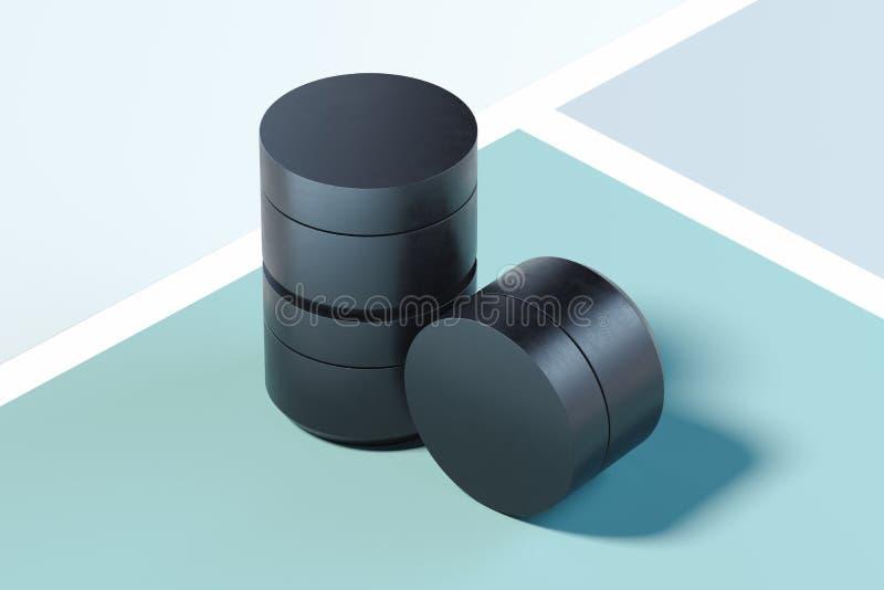 Set Czarne klingeryt butelki dla śmietanki na stubarwnym tle ?wiadczenia 3 d royalty ilustracja