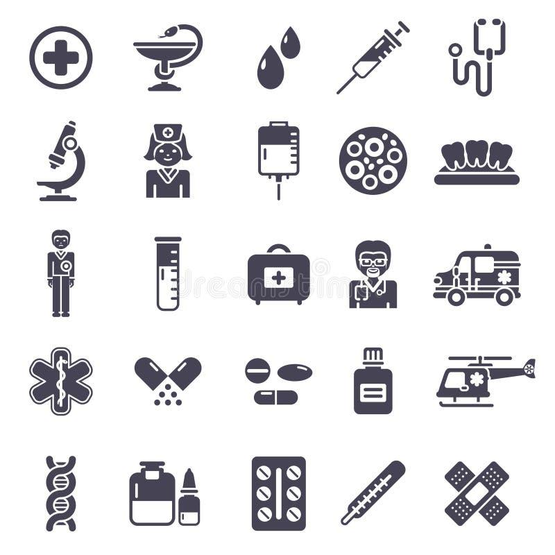 Set Czarne Medyczne ikony Odizolowywać na bielu royalty ilustracja