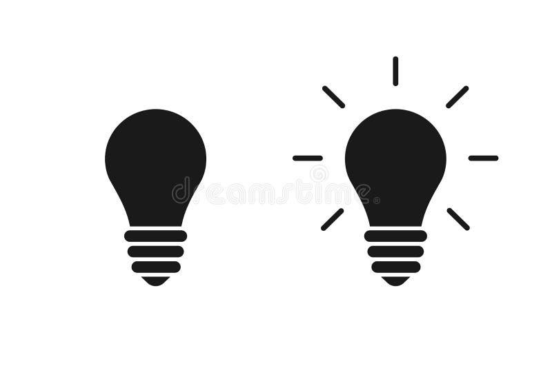Set czarne odosobnione ikony żarówka na białym tle Sylwetka iluminująca lampa Symbol pomysł, kreatywnie ilustracji
