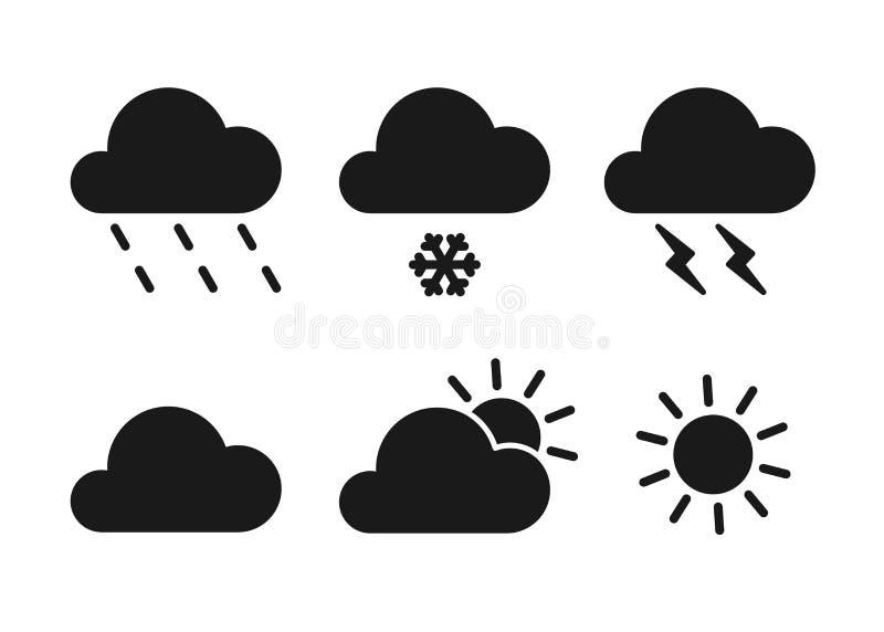 Set czarne odosobnione ikony pogoda na białym tle Sylwetka meteorologiczni symbole Płaski projekt Słońce, śnieg, deszcz, royalty ilustracja