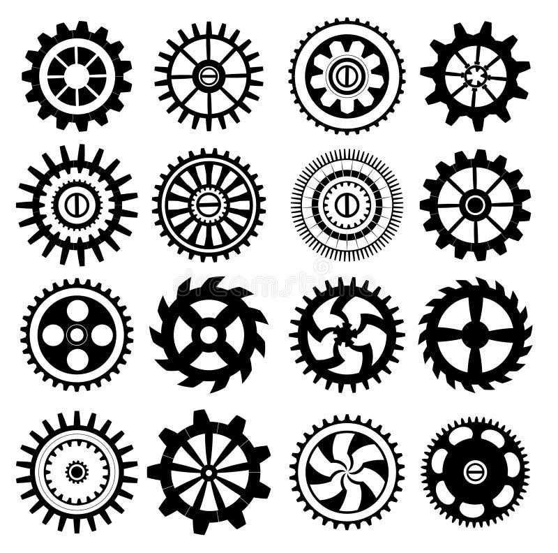 Set czarne przekładnie royalty ilustracja