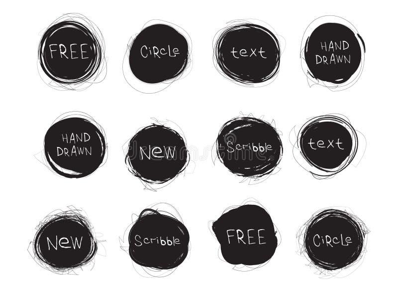 Set czarne round plamy odizolowywać na białym tle Ręka Rysujący skrobanina okręgi kuli ziemskiej loga wektoru sieć ilustracji