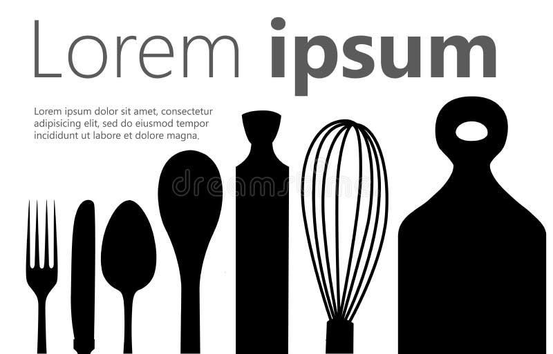 Set czarnego sylwetek narzędzi kuchennego rozwidlenia tocznej szpilki kopyści łyżkowa nożowa deska dla ciąć kulinarnego sztandar  ilustracja wektor