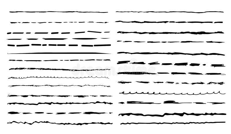 Set czarni artystyczni piór muśnięcia rysunkowej elementów wolnej ręki naturalny stylizowany Ręki rysujący grunge uderzenia równi royalty ilustracja