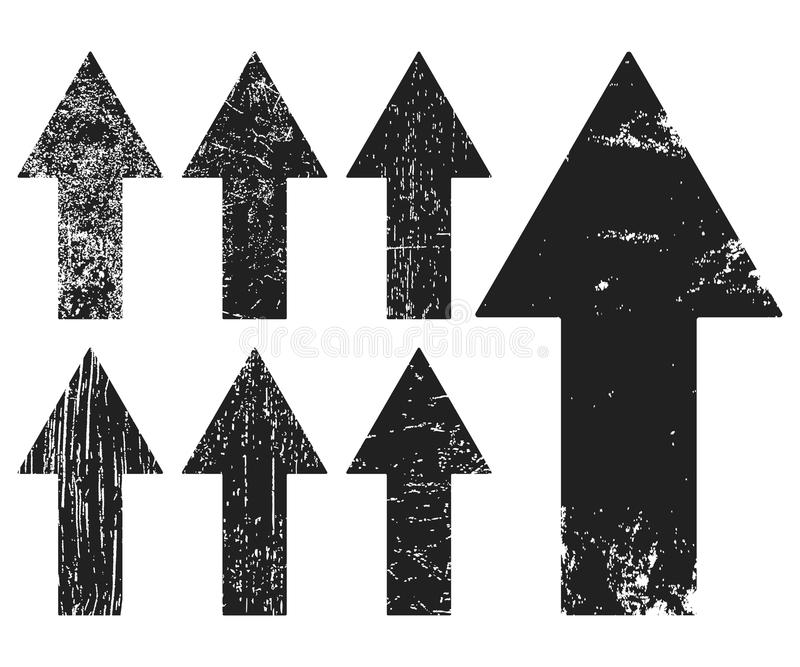Set czarni grunge tekstury arrrows ilustracja wektor