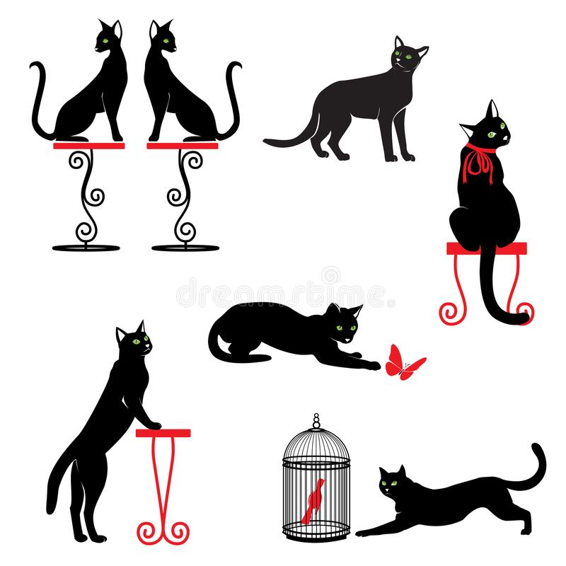 Set czarni koty z zielonymi oczami i czerwonymi akcesoriami royalty ilustracja