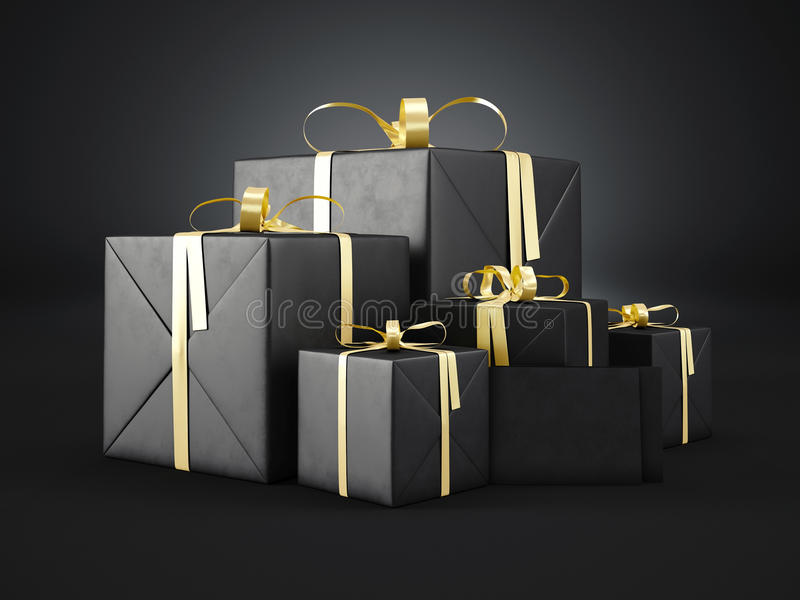 Set czarni prezentów pudełka różnorodni rozmiary z złotą tasiemkową łęku i pustego miejsca kopertą na ciemnym tle 3 d czynią royalty ilustracja