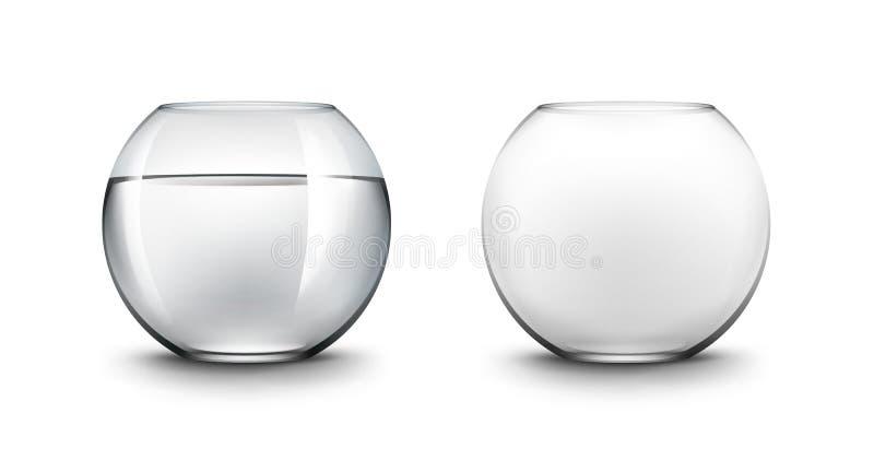 Set Czarni Przejrzyści Gładcy Szklani Fishbowls akwaria z wodą ilustracji