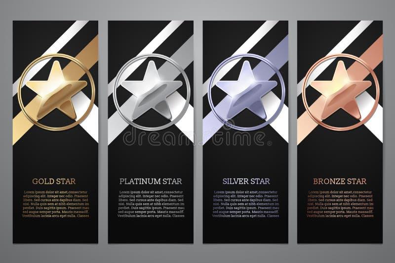 Set czarni sztandary, z?oto, platyna, srebro i br?z, gramy g??wna rol?, Wektorowa ilustracja L ilustracji