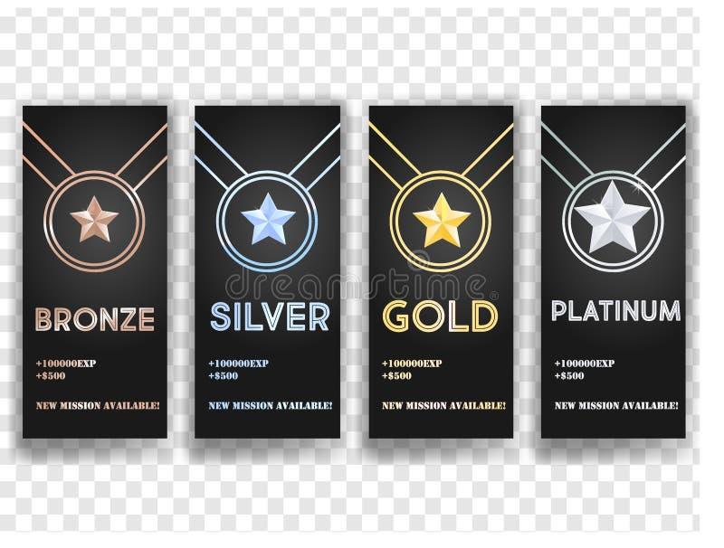Set czarni sztandary z złotem, platyną, srebrem i brązem, gra główna rolę, medal, osiągnięcie ilustracji