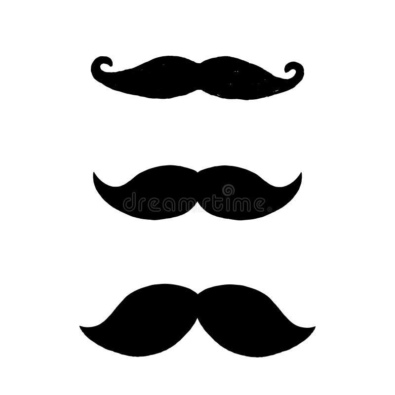 Set czarni wąsy odizolowywający na białym tle Trzy ręka rysującego wąsy royalty ilustracja
