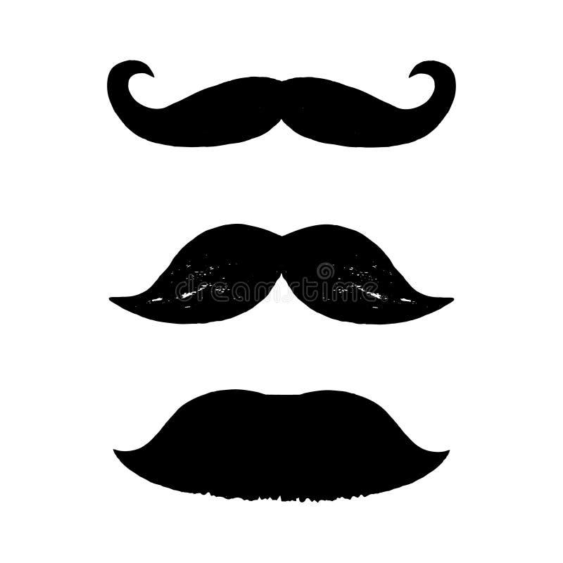 Set czarni wąsy odizolowywający na białym tle Trzy ręka rysującego wąsy ilustracji