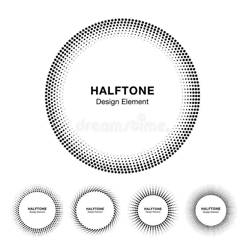 Set Czarny Abstrakcjonistyczny Halftone okręgu ramy logo ilustracji