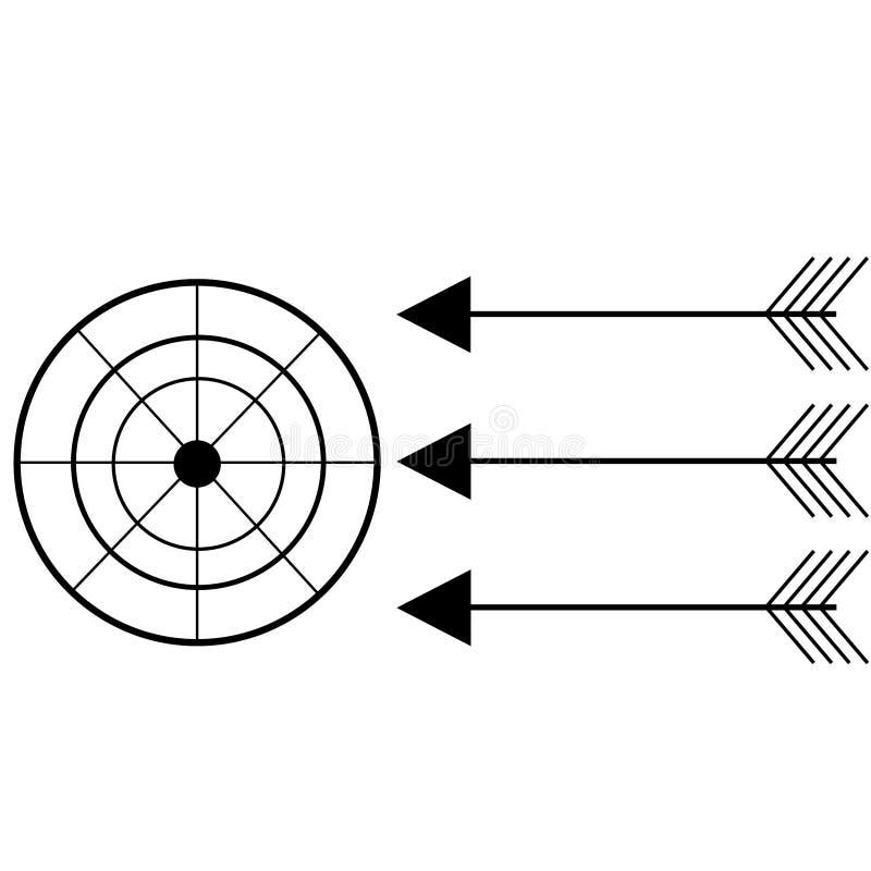 Set czarny celu iconcare i strzała ilustracji