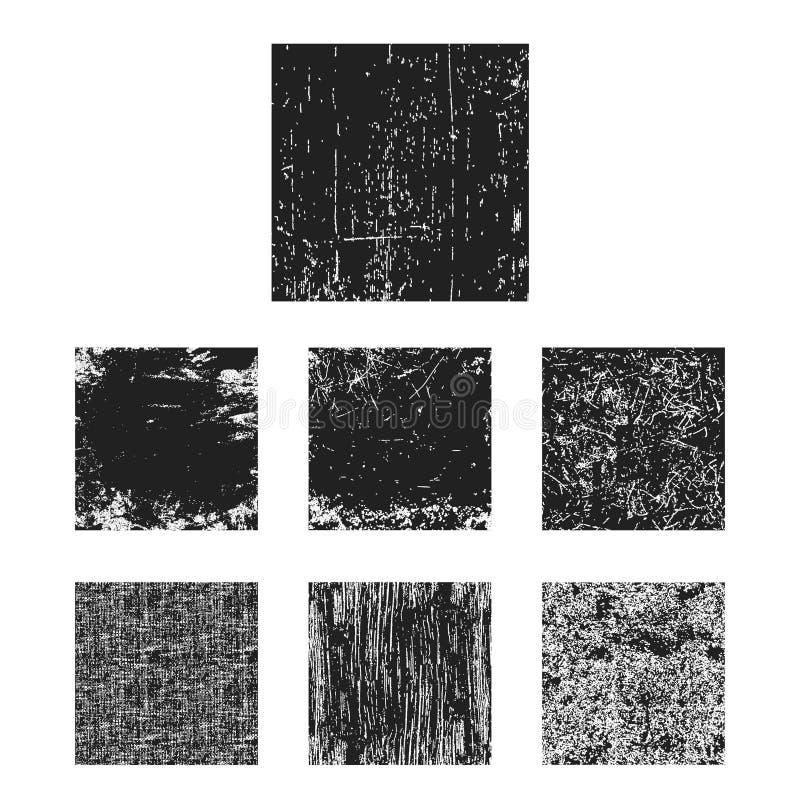 Set czarny grunge tekstury kwadrat ilustracji