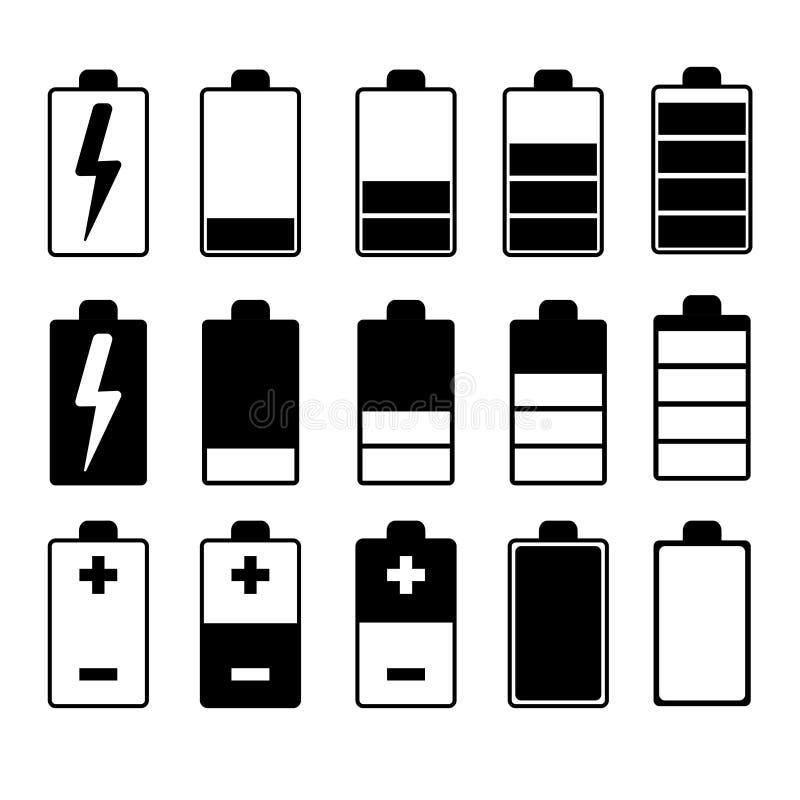 Set czarny i biały bateryjne ładowarki obrazy stock