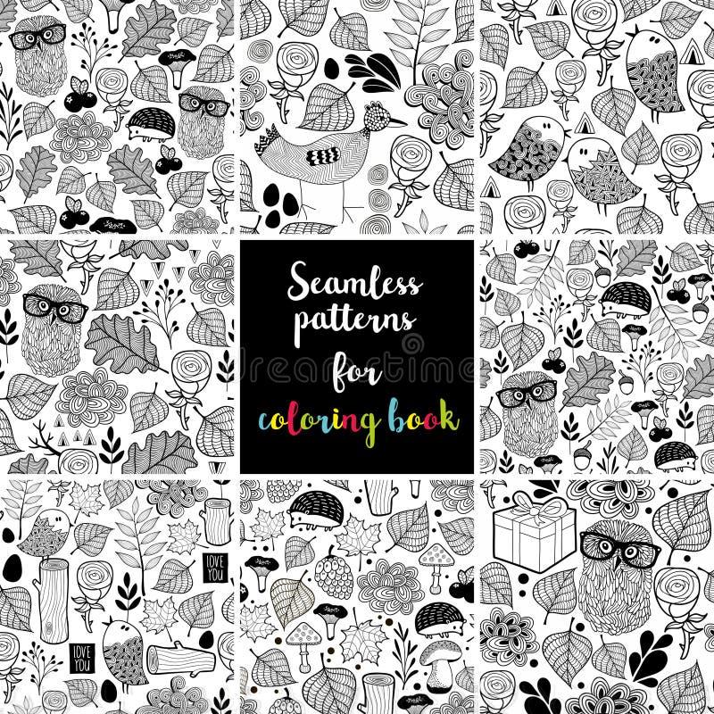 Set czarny i biały bezszwowi wzory dla barwić ilustracja wektor