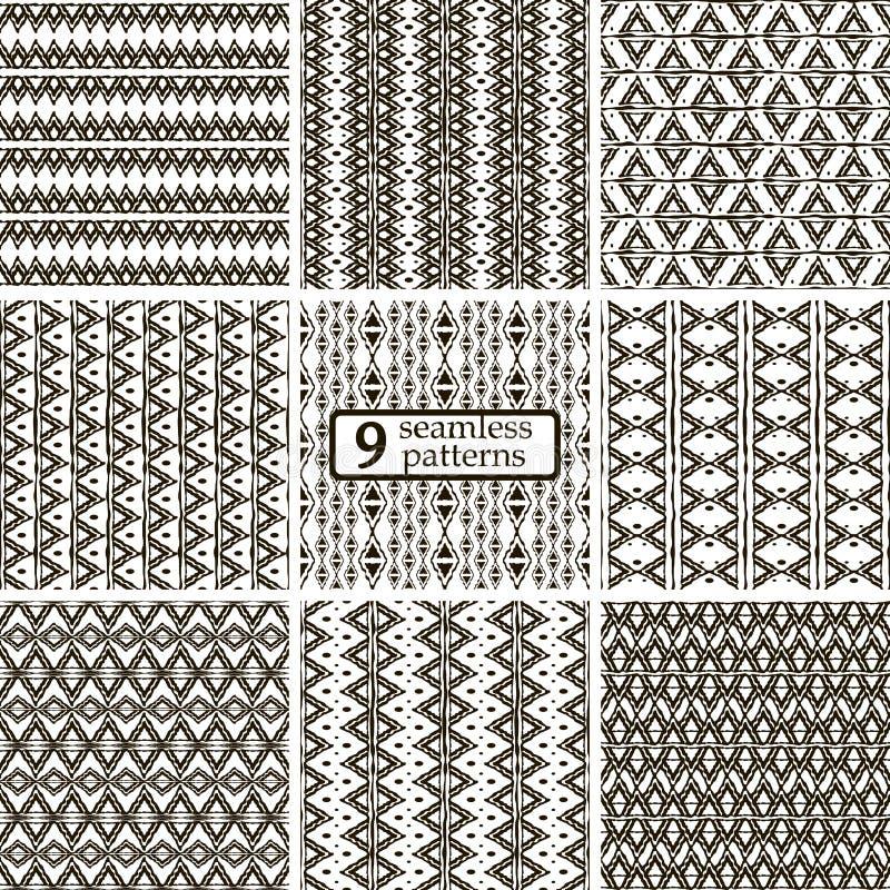 Set 9 czarny i biały bezszwowych wzorów z etnicznymi motywami ilustracji